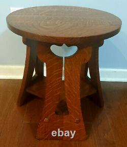 Antique Oak Mission Style Tulip 3 Leg Stool Table Plant Stand Stickley Era s-1E