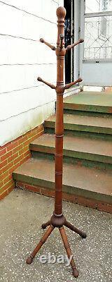 Antique Oak Original Mission/Arts and Crafts Floor Hat/Coat Tree/Stand Six Arms
