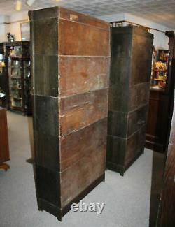 Antique Pair of Arts and Crafts Mission Oak Bookcases with leaded glass doors