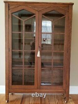 Antique Quarter-sawn Oak Bookcase Mission Oak Ecclesiastical 58 x 38 x 13