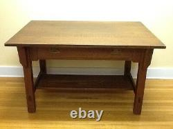 Antique Stickley & Brandt Oak Library Table-2 Pull Drawer withsticker Org. C. 1910