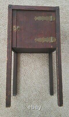 Antique Stickley Era Mission Oak Arts & Crafts Smoking Stand Table Brass Hinges