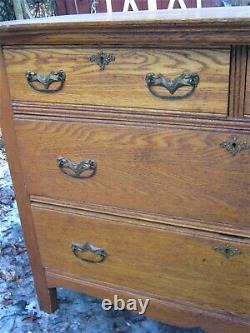 Antique USA Arts Crafts Golden Mission Oak Storage Furniture Dresser Commode Us