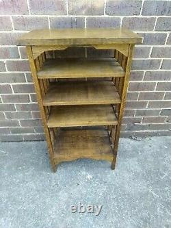 Antique Vintage Arts and Crafts Mission Oak Book Magazine Shelf Stand Bookcase