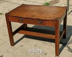 Antique Wolverine Mission Oak Lifetime Desk Library Table Stickley Era