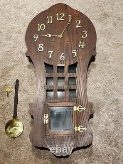 Antique Working 1908 SESSIONS Ramona Mission Oak Art Deco Regulator Wall Clock