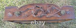 Antique oak Mission/Arts and Crafts Berkey carved/incised library/center table