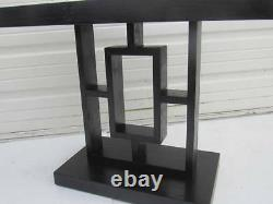 Art Deco Ebonized Side Table Black Geometric Coffee Table Mission Accent Table