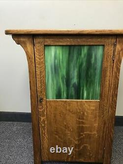 Arts And Crafts/mission Oak Drinks Cabinet Withslag Glass. Locking & castors