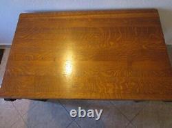 Arts & Crafts Mission Antique Slotted Quarter sawn SOLID tiger Oak library Desk