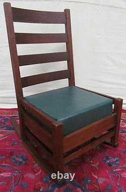 Arts & Crafts Mission Oak Antique Chair Nursing Rocker Signed Stickley