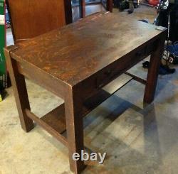 Arts & Crafts Mission Oak Antique Craftsman Library Table, Writing Desk #32237