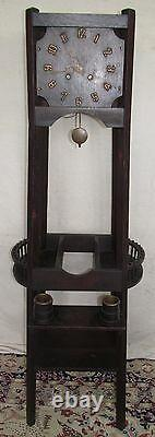 Arts & Crafts Mission Oak Tall Case Antique Clock With Tiny Oak Buckets