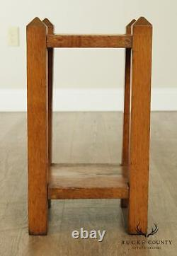 Arts & Crafts Mission Style Square Oak Taboret, End Table