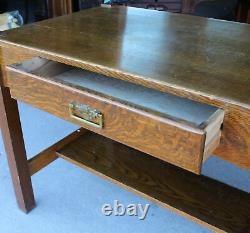 Arts and Crafts Mission Oak Library Table Desk with Drawer and Brass Handle