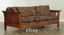 Bassett Mission Style Oak Spindle Sofa