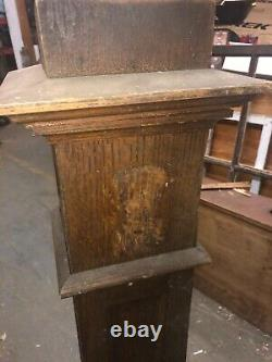 C1900 oak mission style newel post bannister 45H x 9, 7.75 & 6 square heavy