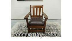 C1905 Signed Limbert Arts + Crafts Quartered Oak Mission Arm Chair