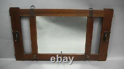 Circa 1910 Arts & Crafts Mission Oak Mirror With Hooks ATT TO Stickley(12229)