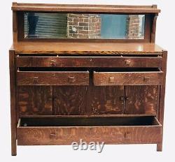 Early 20th C Arts & Crafts / Mission Oak Beveled Glass Sideboard / Server