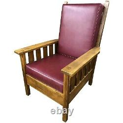Early 20th c Stickley Arts & Crafts Mission Oak Arm Chair with Leather Upholstery