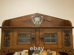 English Arts And Crafts Oak Sideboard With Mirror. Art Furniture/Mission