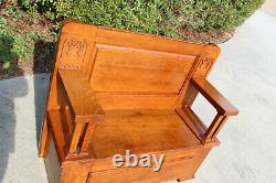 Fabulous Solid Quartersawn Oak Mission Hall Seat Bench Ca. 1910