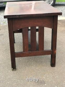 Genuine Antique Mission Arts & Crafts Library Table / Desk With 2 Drawers
