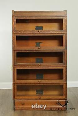 Globe Wernicke Antique Mission Oak 5 Stack Barrister Bookcase