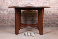 Gustav Stickley Mission Oak Arts & Crafts Round Dining Table, Newly Restored