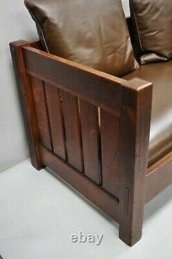 Gustav Stickley Settle #225 Even Arm Brown Leather Mission Oak Arts & Crafts