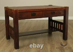 Harden Mission Style Arts and Crafts Antique 2 Drawer Library Table