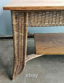 Heywood Wakefield Mission Style Oak & Wicker Library Table Arts & Crafts