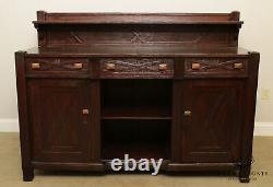 Joseph McHugh Large Antique Mission, Arts & Crafts Style Oak Sideboard