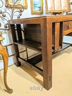 Limbert 1920s Arts & Crafts Desk Library Desk Mission Solid Oak