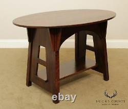 Limbert Antique Mission Arts and Crafts Oak Oval Library Table