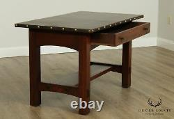 Limbert Antique Mission Oak Leather Top Writing Desk
