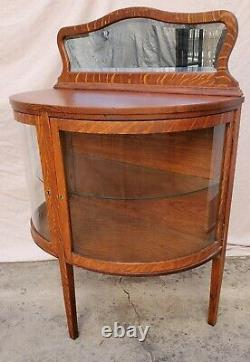 Mission / Arts & Crafts Oak Bowed Glass China Cabinet Console Sideboard LA Area