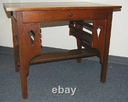 Mission Arts & Crafts Stickley Style Dark Oak Desk With Bookshelves Drawer C1910