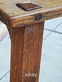 Mission Arts & Crafts antique Oak arm Chair with leather seat by Oak Craft Shop