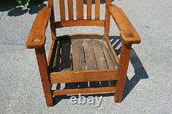 Mission/Arts and Crafts Style Tiger Oak Padded Leather Living Room Chair