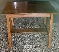 Mission / Arts and Crafts style oak matching rocking armchair & library table