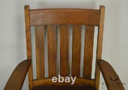 Mission Oak Antique Leather Seat Armchair Possibly Stickley