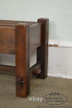 Mission Oak Antique Pair of Stickley Era Slatted Stools