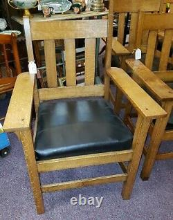 Mission Oak Arts And Crafts Arm Chairs by Chicago Mission Furniture Company
