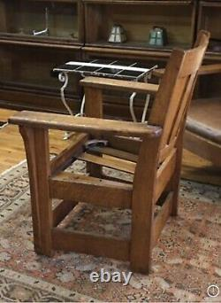 Mission Oak Charles Limbert Arm Chair #693 Signed Long Corbels no Cushion