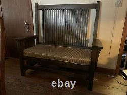 Mission Oak Prairie Hall Settee Bench Arts and Crafts Stickley Era