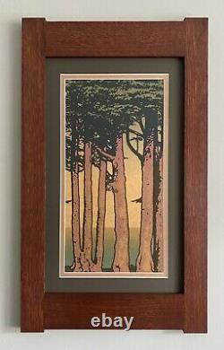 Mission Style Quartersawn Oak Arts & Crafts Framed Print- Lands End Skinny