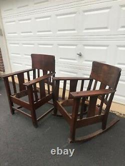 Mission style arts and crafts oak rocker and chair set