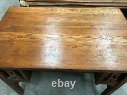 Oak Mission Arts & Crafts Library Table Desk Bookshelves Craftsman